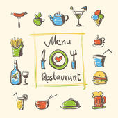 Cafe menu food and drinks hand drawn icons — Stock Vector