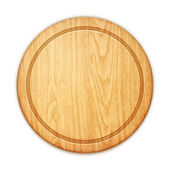 Empty round cutting board on white background — Stock Vector