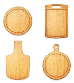 Set of empty wooden cutting boards on white background — Stock Vector