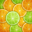 Stock Vector: Orange and lime fruit slices background