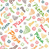 Pizza seamless pattern with hand drawn elements — Stock Vector