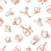 Food hand-drawn stylized seamless pattern — Vettoriale Stock