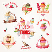 Ice cream labels and badges collections — Stock Vector