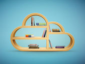 Books on wooden shelf cloud shape — Stock Vector
