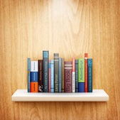 Books on wooden shelf — Stockvector