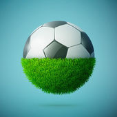 Half of green grass sphere with soccer ball concept — Stock Vector
