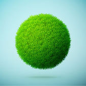 Green grass sphere on a blue clear background — Stockvektor