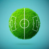 Green grass sphere with soccer field on a blue clear background — Stockvektor