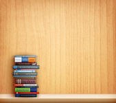 Books on wooden shelf — Vector de stock