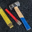 Stock Photo: Folding rule, hammer and gouge