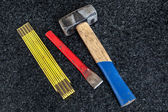 Folding rule, hammer and gouge — Stock Photo