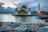 Malacca Straits Mosque, Malaysia at sunset — Stock Photo