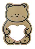 Teddy bear frame with heart shaped blank space — Stock Photo
