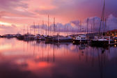 Reflection of sunset with sailboats at Sabah, Borneo, Malaysia — Stock Photo
