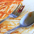 Stock Photo: Greasy plate and fork after eating