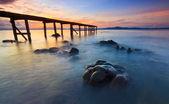 Vista do mar com lindas cores por do sol — Fotografia Stock