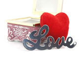 Love and heart in a box — Foto de Stock