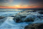 Dramatic seascape at sunset in Sabah, Borneo, Malaysia — Stock Photo