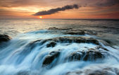 Dramatic seascape at sunset in Sabah, Borneo, Malaysia — Stock Photo