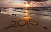 Year 2015 written on sand at sunset — Stock Photo