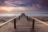 Jetty and sunset at a beach in Sabah, Malaysia, Borneo — Stock Photo