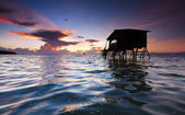 Sunrise with rippling water surface in Kudat, Sabah, East Malaysia, Borneo — Stock Photo