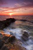 Dramatic seascape at sunset in Kudat, Sabah, East Malaysia, Borneo — Stock Photo