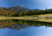 Reflection of Mount Kinabalu at Kundasang, Sabah, East Malaysia, Borneo — Foto de Stock