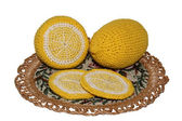 Knitted lemons — Stock Photo
