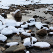 Snow-covered rocks in a shallow river — Stock Photo