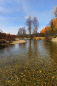 Rivière de montagne pure claire journée d'automne — Photo