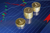 Coins on background stock charts — Stockfoto