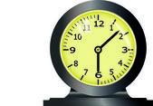 黄色のクロック顔と時計します。 — ストックベクタ