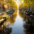 Amsterdam channel in autumn - Stock Photo