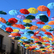 Stock Photo: Street decorated with colored umbrellas.Madrid,Getafe, Spain