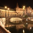 Plaza de Espana in Sevilla at night, Spain. Panoramic reflected in the canal — Stock Photo