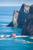 Rocks and cliffs at Cabo sao Lorencio Madeira Portugal — Stockfoto
