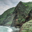 View of beautiful mountains and ocean on northern coast near Boaventura, Madeira island, Portugal — Stock Photo