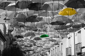 Street decorated with colored umbrellas.Madrid,Getafe, Spain — Stock Photo
