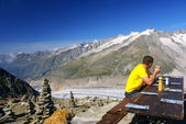 Aletch the longest glacier in Alps — Foto Stock
