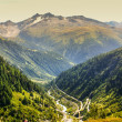 View through Alps valley near Gletch with Furka pass mountain ro — Stock Photo #39036637