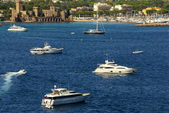 View of Harbor and marina with moored yachts and motorboats in C — Stock Photo