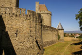 Outside walls of Porte Narbonnaise at Carcassonne in France — Stock Photo