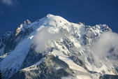 Panoramic view of Mont Blanc Massif. Bossons Glacier in the Fren — Stok fotoğraf