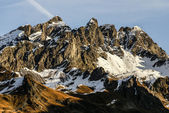 Snowy mountains and rocks at Gourette in the Pyrenees, France — Stock Photo