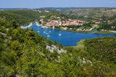 Skradin - small city on Adriatic coast in Croatia, at the entran — Stock Photo