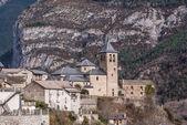 Mountain Town, Torla, Pyrenees, Ordesa y Monte Perdido National — Stock Photo