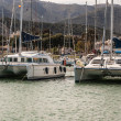 Beautiful white modern yachts at seport in Amposta, Spain, Eur — Stock Photo #40873187