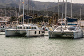 Beautiful white modern yachts at sea port in Amposta, Spain, Eur — Stock Photo