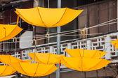 Background colorful umbrella street decoration — Stock Photo